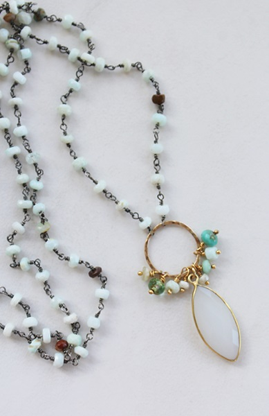 Peruvian Opal and Snow Quartz Boho Necklace - The Lizzy Necklace