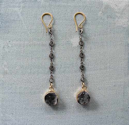 Petite Druzy and Mixed Metal Earrings - The Barielle Earrings