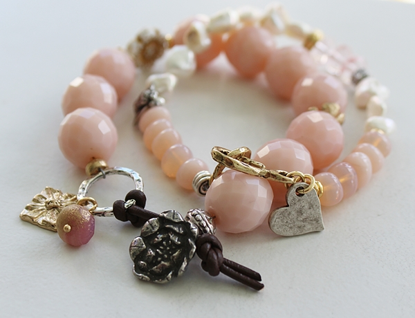 Vintage Glass, Fresh Water Pearl Bracelet - The Petite Bee Bracelet