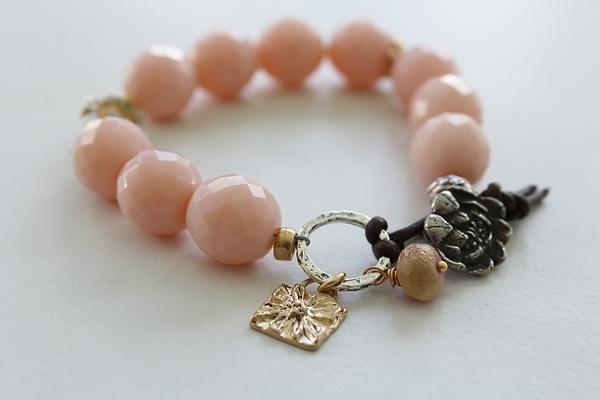 Pink Vintage Glass Bracelet - The Rose Bracelet