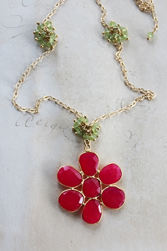 Hot Pink Chalcedony with Peridot Accent Necklace - The Daisy Necklace