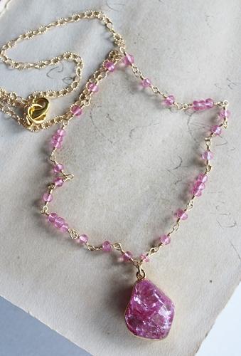 Pink Crackle Quartz and Tourmaline Necklace - The Grace Necklace