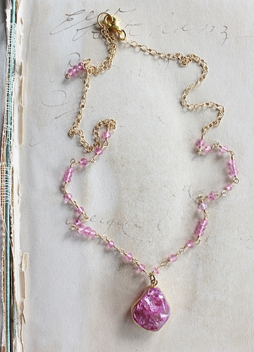 Pink Crackle Quartz and Tourmaline Necklace - The Grace Necklace