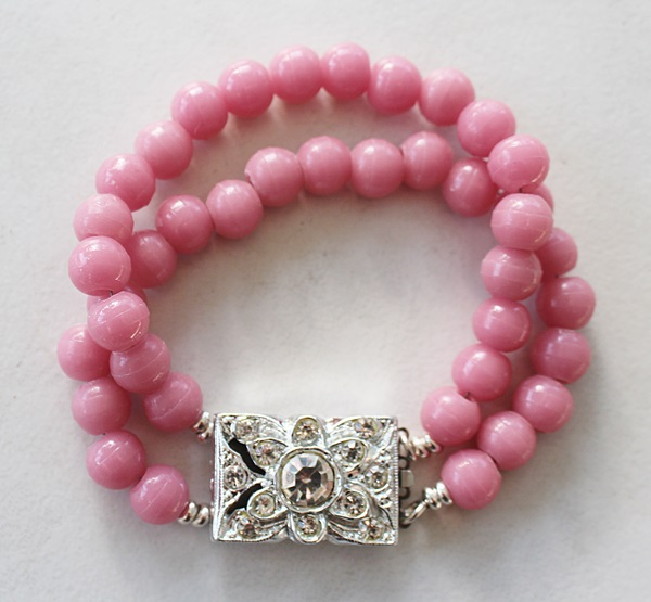Vintage Pink Glass with Rhinestone Clasp - The Ashleigh Bracelet