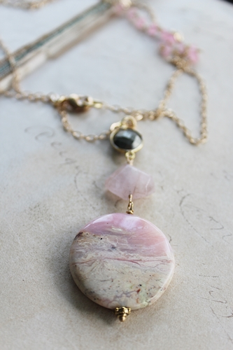Pink Opal Rose Quartz and Pyrite Necklace - The Rose Necklace
