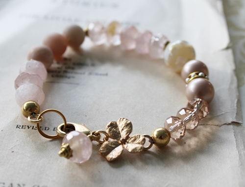 Pink Tiger Quartz and Mixed Gem Bracelet