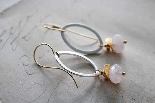 Pink Tiger Quartz and Mixed Metal Earrings - The Brynna Earrings