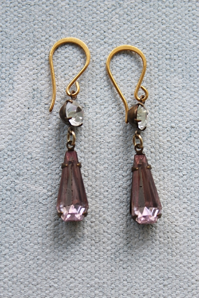 Rose Pink Vintage Jewel Earrings