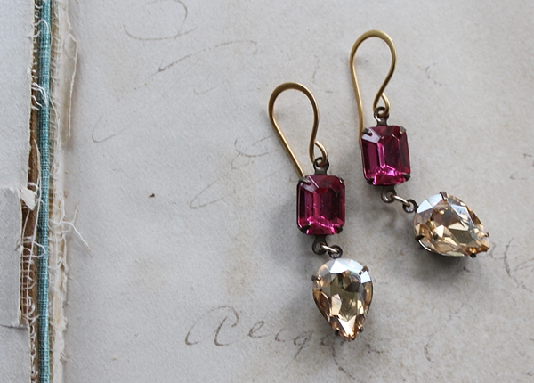 Fucshia and Champagne Vintage Drop Earrings