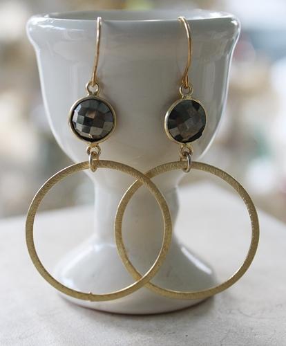 Pyrite and Gold Hoop Earrings