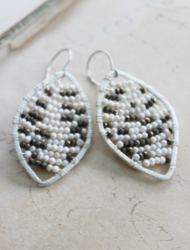 Sterling Silver or 14kt Gold Wire Beaded Earrings - The Addison Earrings