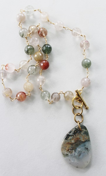 Clear Agate and Stone Agate Pendant (OOAK) - The Nadia Necklace