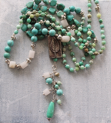 Raw Amazonite Turquoise and Agate Knotted Necklace - The Josephine Necklace
