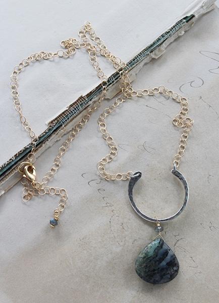 Raw Labradorite Mixed Metal Necklace - The Gabriella Necklace