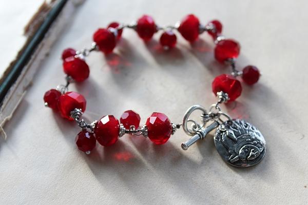Red Vintage Glass and Charm Bracelet - The True Love Bracelet