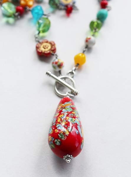 Vintage Red Glass Pendant and Assorted Czech Glass Necklace  - The Sadie Necklace