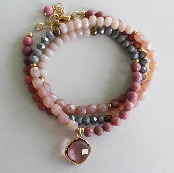 Rhodonite and Czech Glass Convertible Bracelet/Necklace - The Lindy Bracelet/Necklace