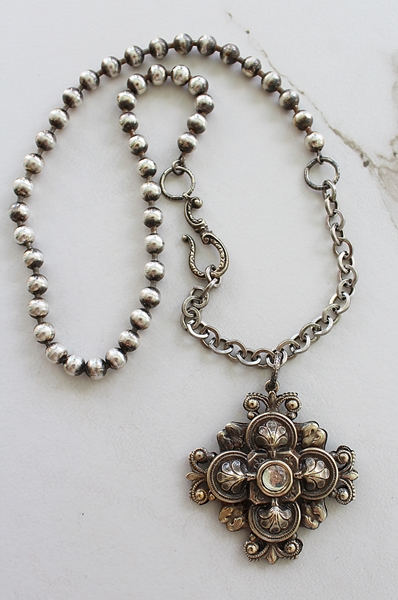 Riveted Silver Cross on Ball Chain - The Trinity Necklace