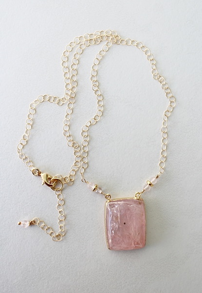 Rose Quartz Pendant and 14kt Gold Necklace - The Kiersten Necklace