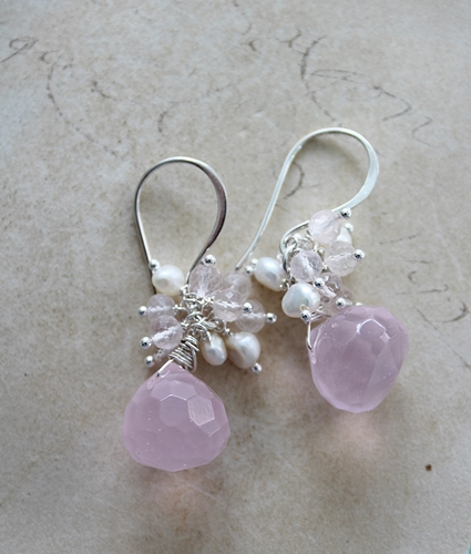 Rose Quartz Fresh Water Pearl Earrings - The Rosalie Earrings