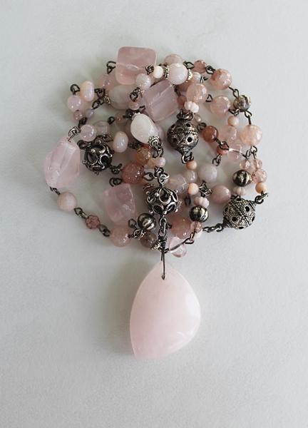 Rose Quartz Handmade Chain and Pendant Necklace - The Katie Necklace
