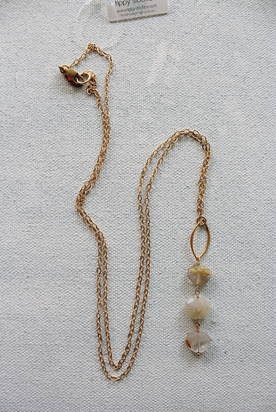 Golden Rutiliated Quartz Trio Necklace