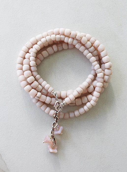 Pale Pink Java Bead Wrap Bracelet/Necklace - The Joannie Bracelet