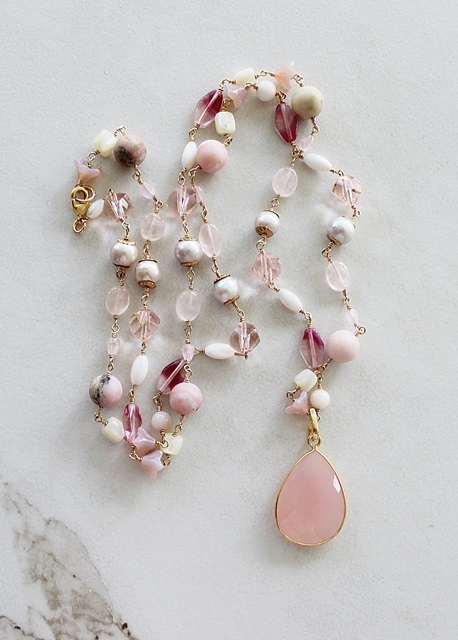 Mixed Gem and Czech Glass Necklace - The Peony Necklace