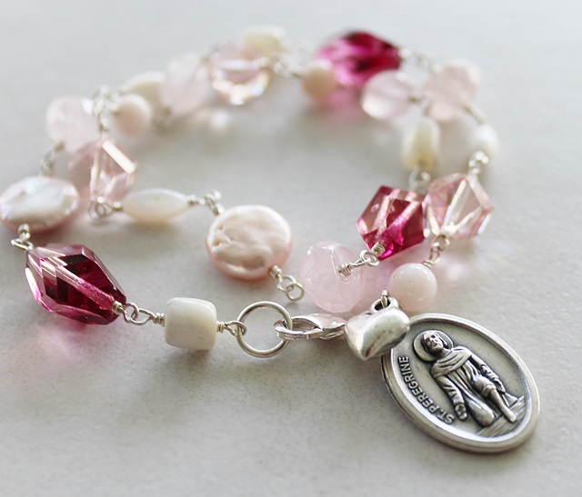 Fresh Water Pearl and Pink Glass St. Peregrine Bracelet - The Compassion Bracelet