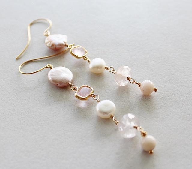 Fresh Water Pearl and Pink Quartz Earrings - The Rachel Earrings