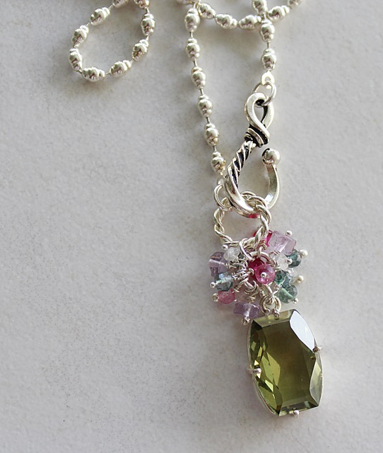 Green Amethyst Cluster Necklace - The Annaliese Necklace