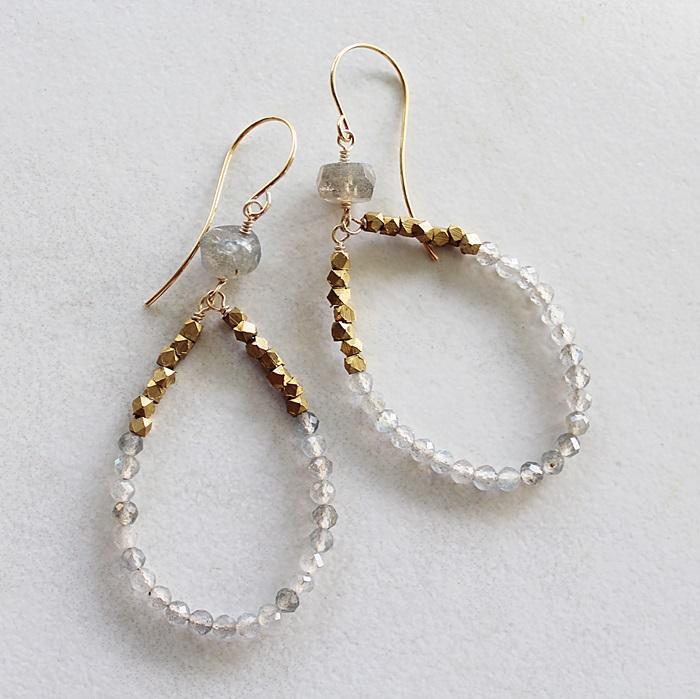 Labradorite Hoop Earrings - The Lorraine Earrings