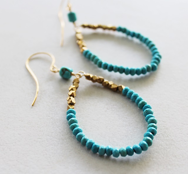 Turquoise Hoop Earrings - The Karin Earrings