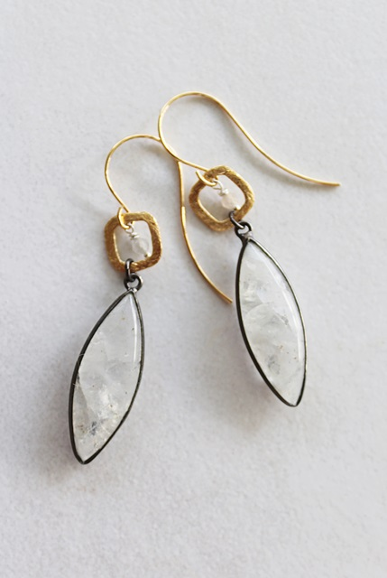 Moonstone Mixed Metal Earrings - The Samantha Earrings
