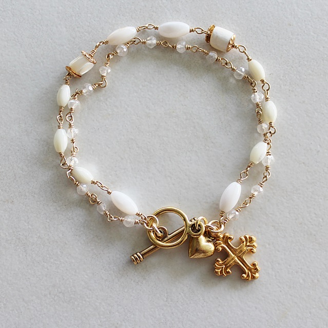 Mother of Pearl, Moonstone Two Strand Bracelet - The Easter Bracelet