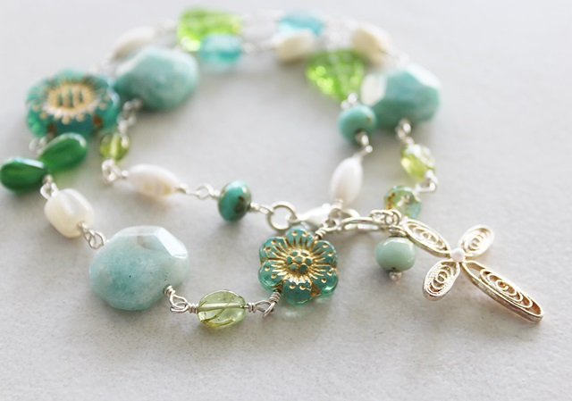 Mixed Glass and Gem Wrap Bracelet - The Cami Bracelet