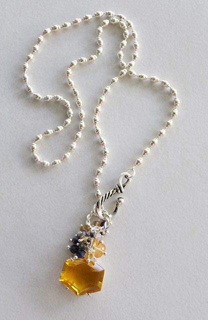 Citrine Pendant Cluster Necklace - The Terri Necklace