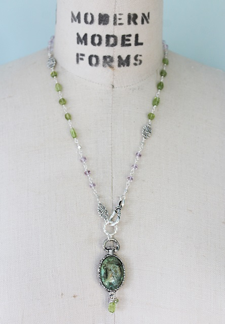 Peridot and Amethyst Filigree Necklace - The Anya Necklace