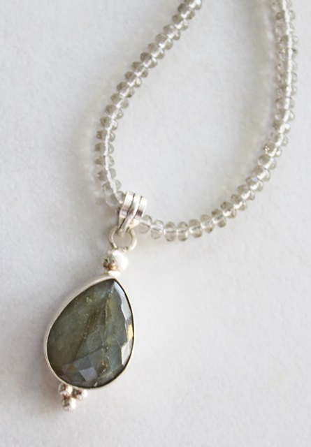 Labradorite Pendant and Glass Necklace - The Sophie Necklace