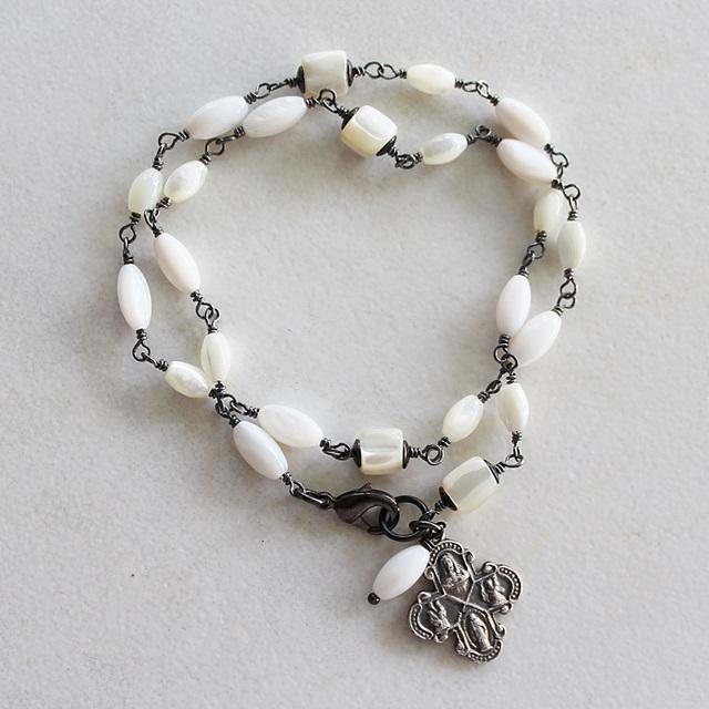 Mother of Pearl Oxidized Sterling Silver Wrap Bracelet - The Trinity Bracelet