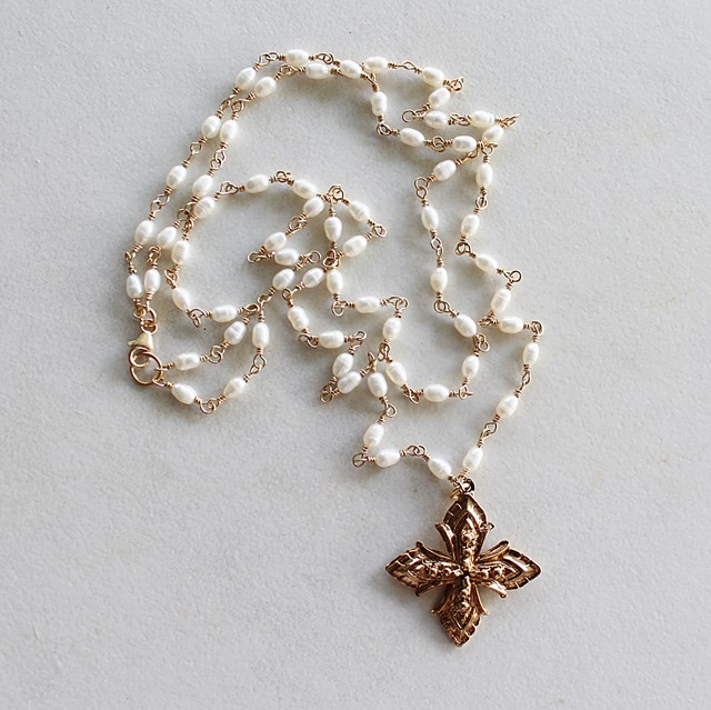 Fresh Water Pearl Double Strand Cross Necklace - The Devotion Necklace