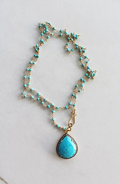 Turquoise CZ Pendant Necklace - The Las Cruces Necklace