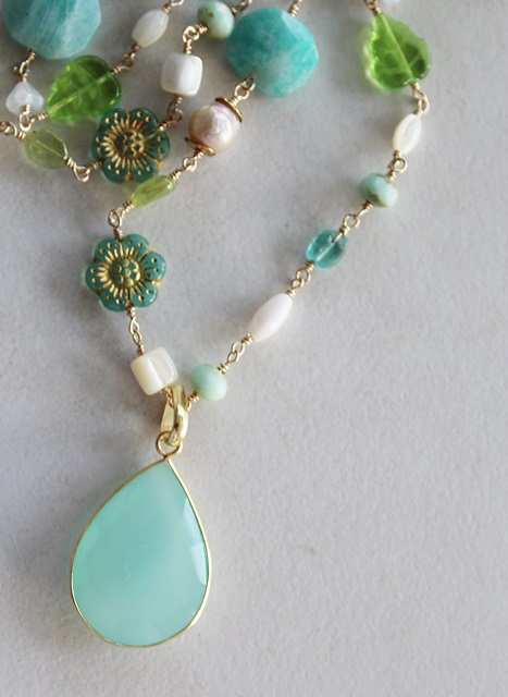 Mixed Aqua and Green Glass and Gem Necklace - The Captiva Necklace