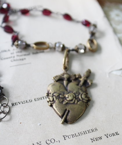 Garnet and Crystal Mixed Metal Sacred Heart Necklace