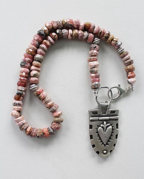 Rhodonite Sacred Heart Sterling Silver Necklace - The Elizabeth Necklace