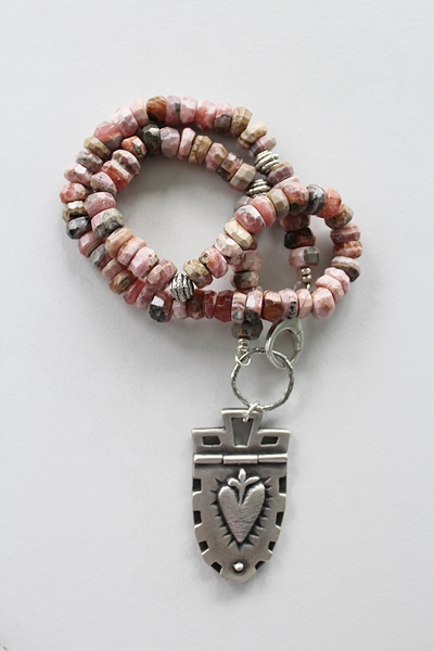 Rhodonite Sacred Heart Sterling Silver Necklace - The Elizabeth Necklace