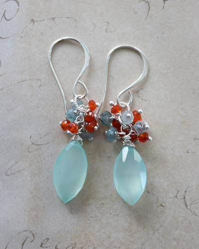 Sea Blue Chalcedony with Carnelian and Blue Zircon Earrings - The Nina Earrings