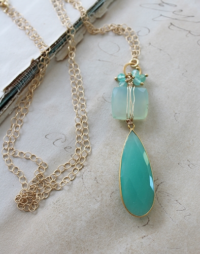 Sea Blue and Aqua Chalcedony Necklace - The Luna Necklace
