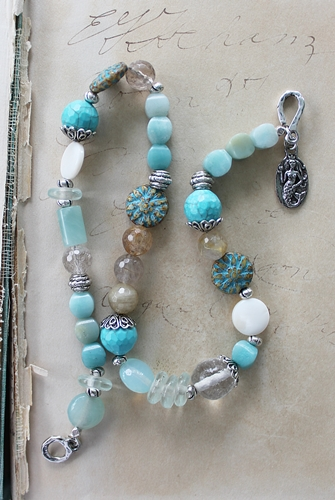 Aqua Glass, Mixed Gems, Vintage Glass Double Wrap Bracelet - The Seabreeze Bracelet