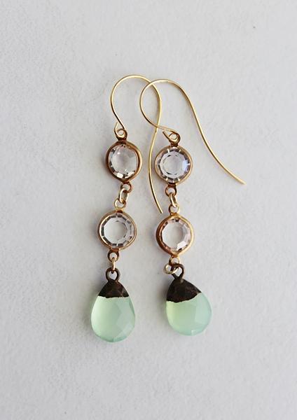 Sea Green Chalcedony Earrings - The Elia Earrings